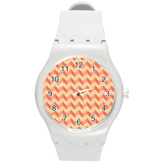 Modern Retro Chevron Patchwork Pattern Round Plastic Sport Watch (m) by creativemom