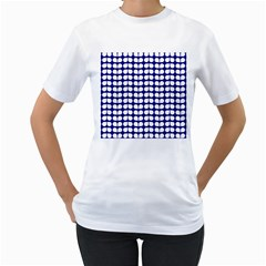 Blue And White Leaf Pattern Women s T Shirt (white) (two Sided)