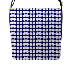Blue And White Leaf Pattern Flap Messenger Bag (l)  by creativemom