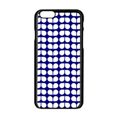 Blue And White Leaf Pattern Apple Iphone 6 Black Enamel Case by creativemom