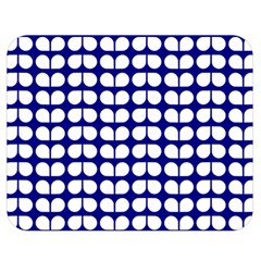 Blue And White Leaf Pattern Double Sided Flano Blanket (medium)  by creativemom