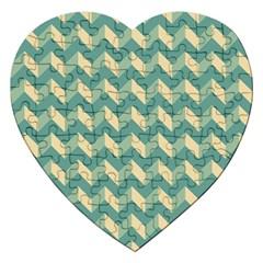 Modern Retro Chevron Patchwork Pattern Jigsaw Puzzle (heart) by creativemom