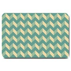 Modern Retro Chevron Patchwork Pattern Large Doormat  by creativemom