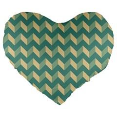 Modern Retro Chevron Patchwork Pattern Large 19  Premium Heart Shape Cushions by creativemom