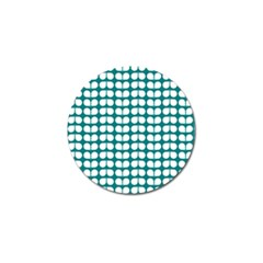 Teal And White Leaf Pattern Golf Ball Marker (4 Pack) by creativemom