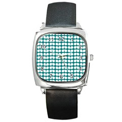 Teal And White Leaf Pattern Square Metal Watches by creativemom