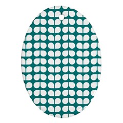 Teal And White Leaf Pattern Oval Ornament (two Sides) by creativemom