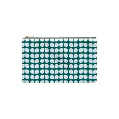 Teal And White Leaf Pattern Cosmetic Bag (small)  by creativemom