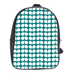Teal And White Leaf Pattern School Bags(large)  by creativemom