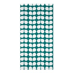 Teal And White Leaf Pattern Shower Curtain 36  X 72  (stall)  by creativemom
