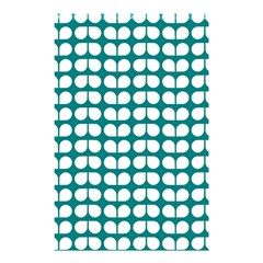 Teal And White Leaf Pattern Shower Curtain 48  X 72  (small)