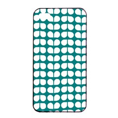 Teal And White Leaf Pattern Apple Iphone 4/4s Seamless Case (black)