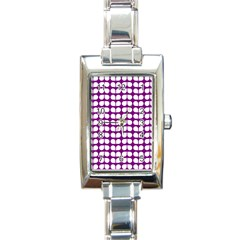 Purple And White Leaf Pattern Rectangle Italian Charm Watches