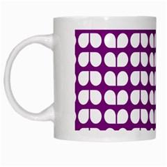 Purple And White Leaf Pattern White Mugs by creativemom