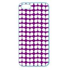 Purple And White Leaf Pattern Apple Seamless Iphone 5 Case (color)
