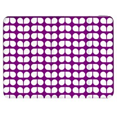 Purple And White Leaf Pattern Samsung Galaxy Tab 7  P1000 Flip Case by creativemom