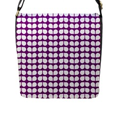 Purple And White Leaf Pattern Flap Messenger Bag (l)  by creativemom