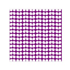 Purple And White Leaf Pattern Small Satin Scarf (square)  by creativemom