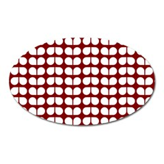 Red And White Leaf Pattern Oval Magnet by creativemom