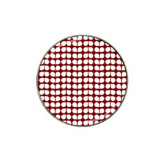 Red And White Leaf Pattern Hat Clip Ball Marker (4 Pack) by creativemom