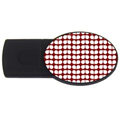 Red And White Leaf Pattern Usb Flash Drive Oval (4 Gb)
