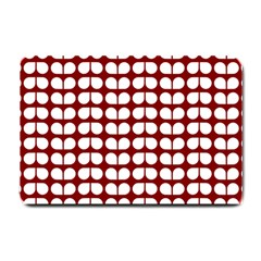 Red And White Leaf Pattern Small Doormat  by creativemom