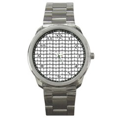 Gray And White Leaf Pattern Sport Metal Watches by creativemom