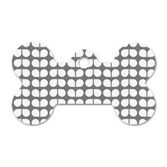 Gray And White Leaf Pattern Dog Tag Bone (two Sides) by creativemom