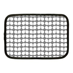 Gray And White Leaf Pattern Netbook Case (medium)  by creativemom