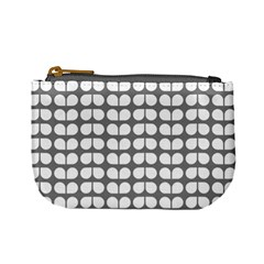 Gray And White Leaf Pattern Mini Coin Purses by creativemom