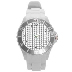 Gray And White Leaf Pattern Round Plastic Sport Watch (l) by creativemom