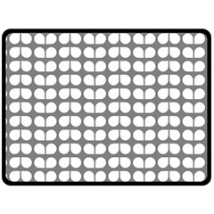 Gray And White Leaf Pattern Double Sided Fleece Blanket (large)