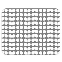 Gray And White Leaf Pattern Double Sided Flano Blanket (medium)  by creativemom