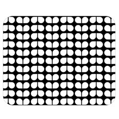 Black And White Leaf Pattern Double Sided Flano Blanket (medium)  by creativemom