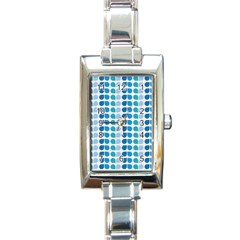 Blue Green Leaf Pattern Rectangle Italian Charm Watches by creativemom