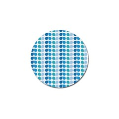 Blue Green Leaf Pattern Golf Ball Marker