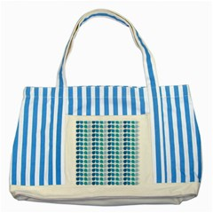 Blue Green Leaf Pattern Striped Blue Tote Bag  by creativemom