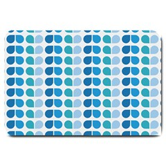 Blue Green Leaf Pattern Large Doormat  by creativemom