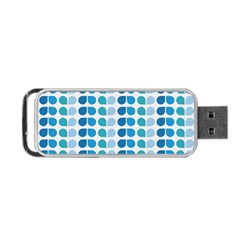 Blue Green Leaf Pattern Portable USB Flash (Two Sides) by creativemom