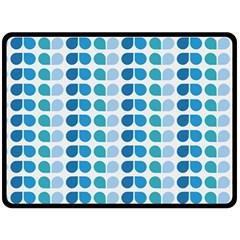 Blue Green Leaf Pattern Double Sided Fleece Blanket (large)