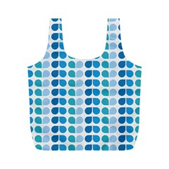 Blue Green Leaf Pattern Full Print Recycle Bags (M)  by creativemom