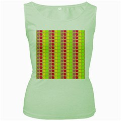 Colorful Leaf Pattern Women s Green Tank Tops by creativemom