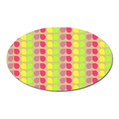 Colorful Leaf Pattern Oval Magnet by creativemom