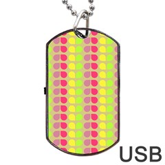 Colorful Leaf Pattern Dog Tag Usb Flash (one Side)