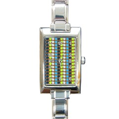Colorful Leaf Pattern Rectangle Italian Charm Watches by creativemom