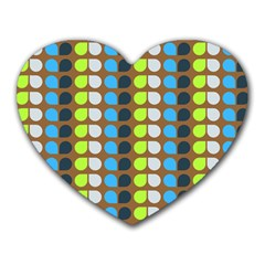 Colorful Leaf Pattern Heart Mousepads by creativemom