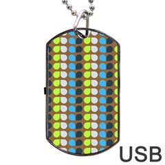 Colorful Leaf Pattern Dog Tag Usb Flash (one Side) by creativemom