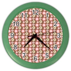 Cute Floral Pattern Color Wall Clocks by creativemom