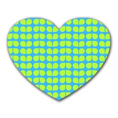 Blue Lime Leaf Pattern Heart Mousepads by creativemom