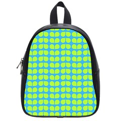 Blue Lime Leaf Pattern School Bags (small)  by creativemom
